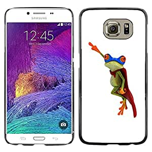 Impact Case Cover with Art Pattern Designs FOR Samsung Galaxy S6 Frog Flying Hero White Minimalist Betty shop