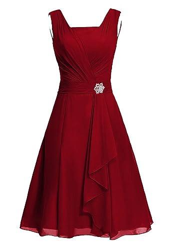 DianSheng Women's Short Square Chiffon Bridesmaid Dress Party Dress with Sash