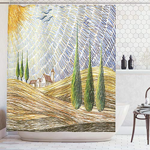 Ambesonne Tuscan Decor Shower Curtain Set, Van Gogh Style Italian Valley Rural Fields with European Scenery Digital Painting Artsy Print, Bathroom Accessories, 69W X 70L Inches, Yellow Green ()
