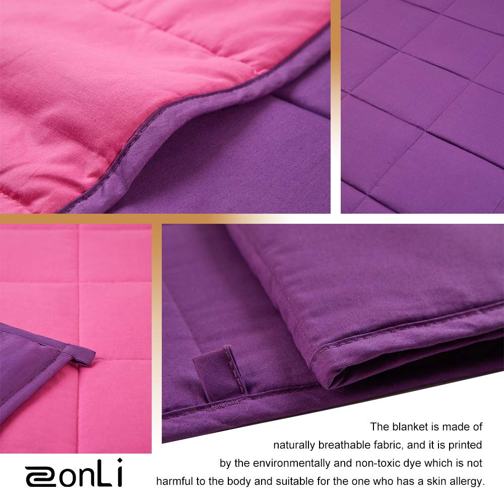 Zonli Weighted Blanket 36x48 5lbs For 30 70lbs Sheep Natural Cotton Material With Glass Beads Girls
