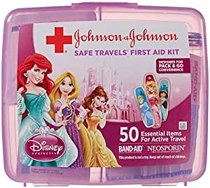 Johnson & Johnson Red Cross SAFE TRAVELS First Aid Kit-DISNEY Princesses-50 ct