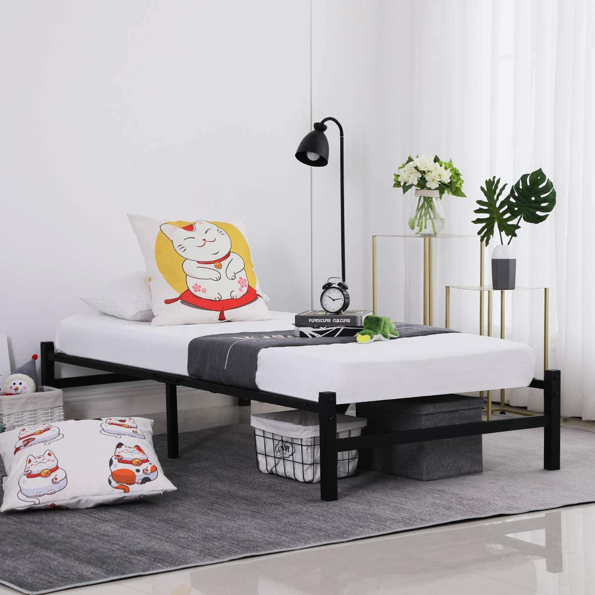 No Box Spring Needed Full GreenForest 14 inch Platform Bed Frame with Heavy Duty Steel Slats