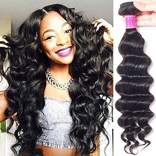 One Piece Bundle - RECOOL Hair Loose Deep Human Hair Extensions one Piece Separately for Sale Natural Color (1 bundle 24 inch)