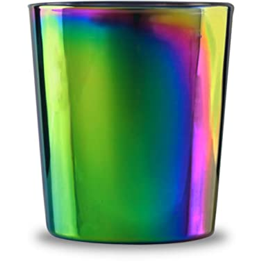 Circleware 76873 Fusion Luster Whiskey Glasses Set of 4-13.5 oz Heavy Base Beverage Drinking Glassware Cups for Water, Liquor, Beer, Juice 4pc DOF Rainbow