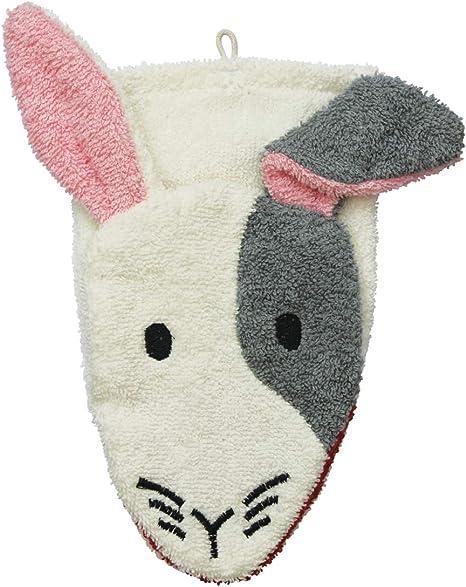 Fürnis - Manopla de baño, diseño de conejo, color crema/gris/rosa ...