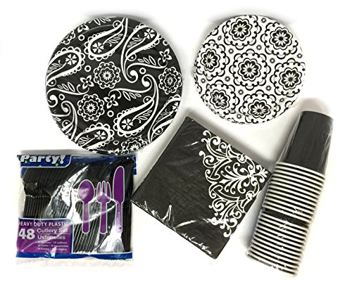 Black White Ornate Dinner Paper Plates Bundle for 24 - 5 items, 36 Large 8.75
