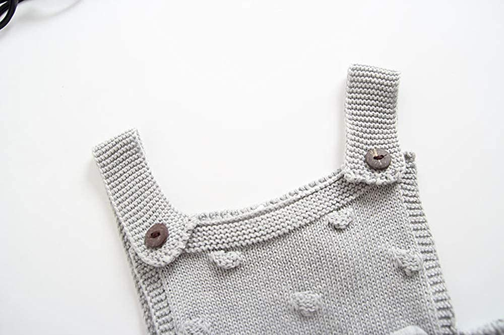 G-real Unisex Baby Warm Knitted Fleece Solid Romper Overalls Newborn Baby Strap Sweater Jumpsuit for 0-24M