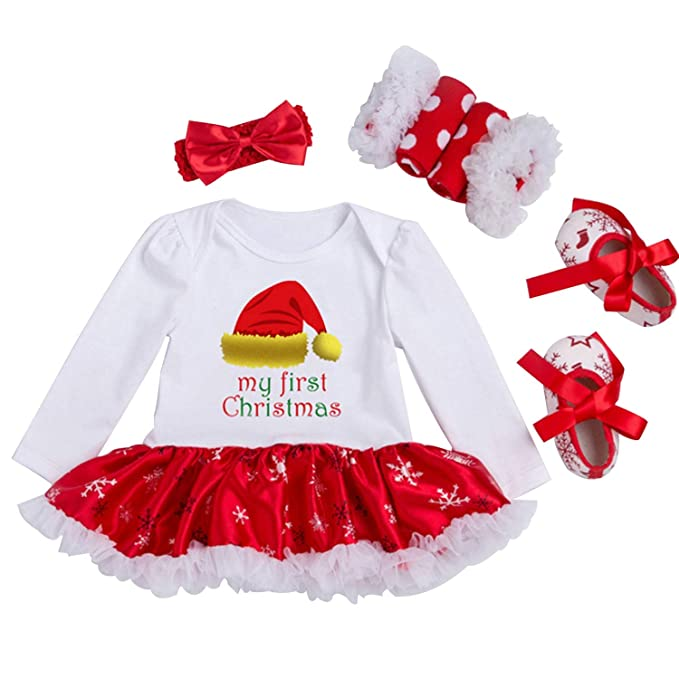 amazoncom looching newborn baby girls christmas outfit infant romper tutu dress 4pcs set clothing