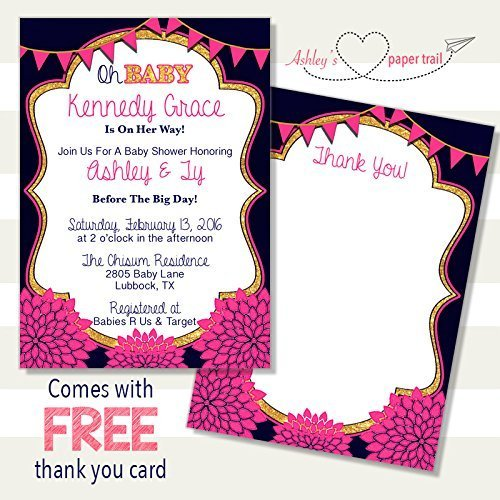 Navy, Pink, and Gold Glitter Floral Oh B - Elegant Baby Shower Invitations Shopping Results