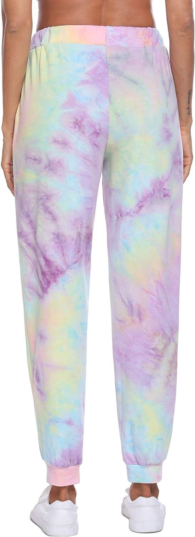 Beyove Womens Tie Dye Sweatpants Drawstring Joggers Pant Loungewear Running Active Pants Sports Trousers with Pocket