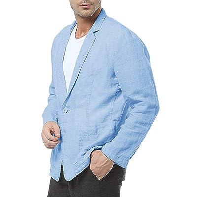 Beotyshow Mens Lapel Blazer Casual Cotton Linen Jacket Button Down Tuxedo Dress Coat at Amazon Men's Clothing store