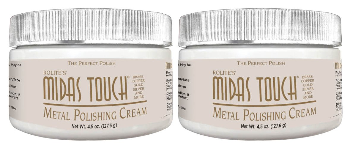 Midas Touch Metal Polishing Cream – 4.5oz, Cleaner & Polishing Rouge for Sterling Silver, Gold, Brass & Other Metals, 2pack, by Rolite - MTMPC4.5Z2PK
