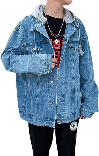 PPEIREE ジージャン フード付き メンズ デニムジャケット カジュアル アウター ヒップホップ 学生コート ゆったり デニムコート ストレッチ 上品 韓国風 スタイリッシュ