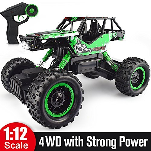 Double E 1/12 RC Rock Crawler Remote Control Truck 4WD Rechargeable Vehicles Off-Road - Monster Controlled Truck Remote