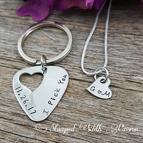 Hand Stamped Guitar Pick (Guitar pick Keychain and necklace set hand stamped - I pick you with date - Couples Anniversary Jewelry Set - Gift for him - Gift for Her - Valentine Gift - Stainless steel handmade gifts)
