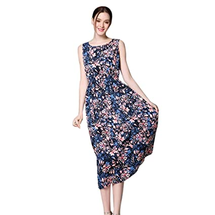 92f3afba528 Amazon.com  Amiley Summer Mothers day Perfect gift Sexy Women Long Bohemia  Sleeveless Floral Print Beach Party Casual A-Line Dress (XL