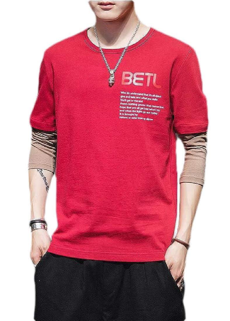 Jmwss QD Mens Patchwork Shirt Long Sleeve Cotton Casual Tops T-Shirt