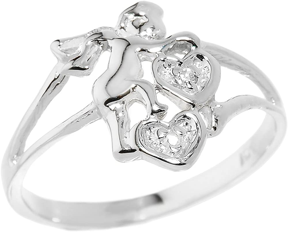 Modern Contemporary Rings Dainty 925 Sterling Silver Diamond-Accented Two Hearts Charm Love Angel Ring