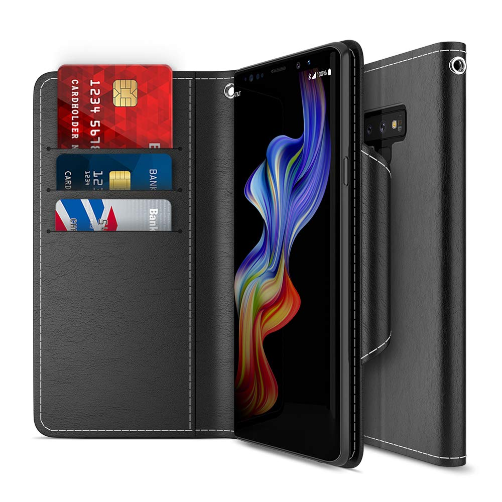 Maxboost Galaxy Note 9 Case, [Folio Style] Wallet Case for Samsung Galaxy Note 9 [Stand Feature] (Black) Protective PU Leather Flip Cover with Credit Card Slot+Side Cash Pocket+Magnetic Clasp Closure by Maxboost
