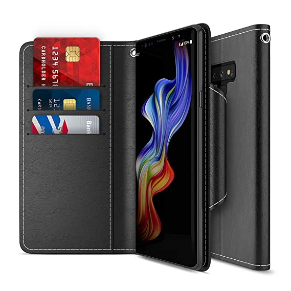 buy online 27a5d 34337 Galaxy Note 9 Case, Maxboost [Folio Style] Wallet Case for Samsung Galaxy  Note 9 [Stand Feature] (Black) Protective PU Leather Flip Cover with Credit  ...