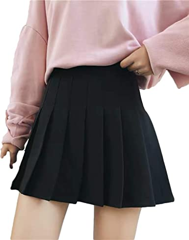 Women/'s Stretch High Waist A-line Flared Mini Skater Skirt Casual Pleated Skirts