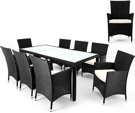 Ratán muebles de jardín conjunto – 8 plazas + 1 mesa – negro – Juego de mesa de comedor juego de comedor Patio Terraza Balcón con mesa de cristal rectangular Top: Amazon.es: Jardín