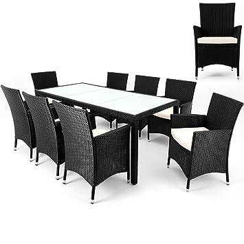 Salon de jardin polyrotin - 8 chaises + 1 table - Noir - meubles ...