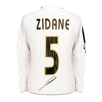 Zinedine Zidane Real Madrid 2003-04 camiseta de fútbol firmada con mangas largas y la