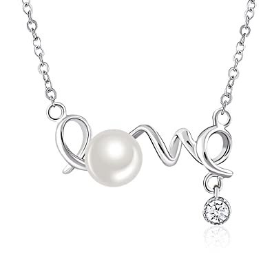 Amazon necklace 925 sterling silver freshwater cultured necklace 925 sterling silver freshwater cultured pearl pendant necklace jse fine jewelry quot mozeypictures Image collections