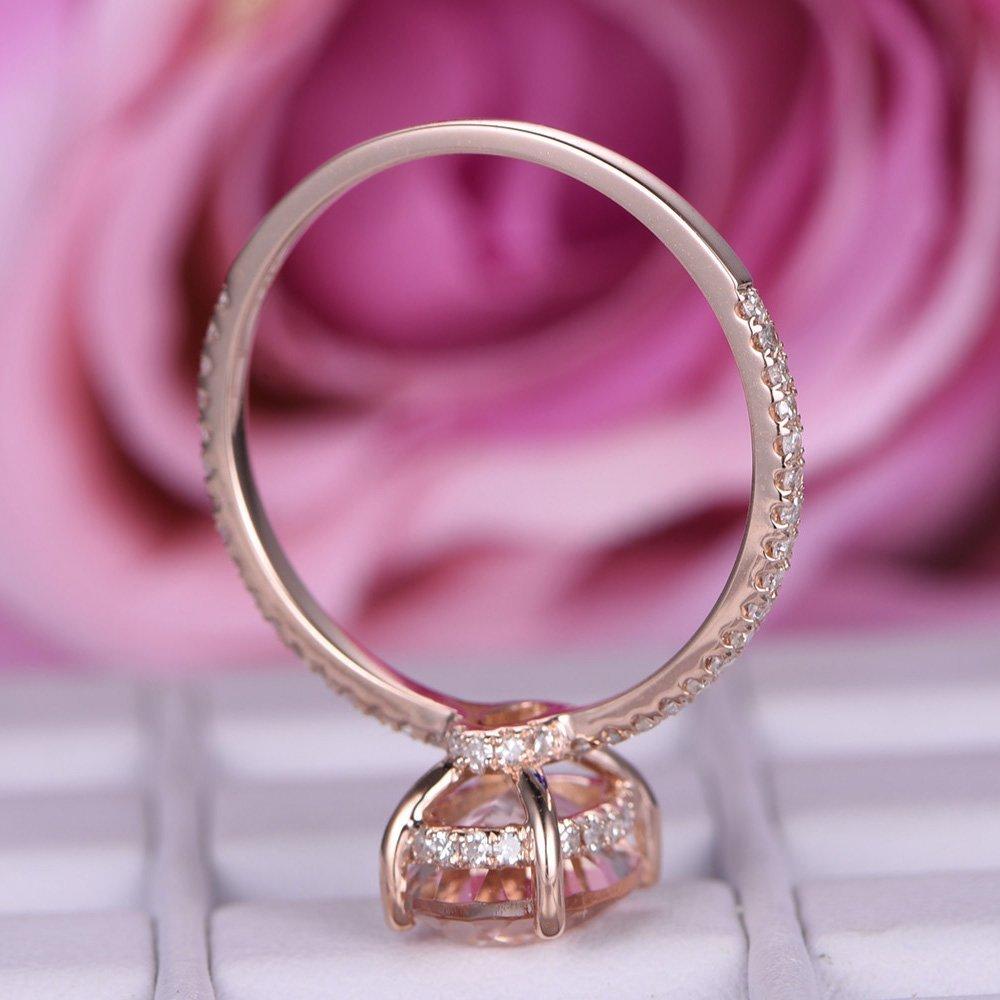 Amazon.com: Oval Morganite Engagement Ring Pave Diamond Wedding 14K ...