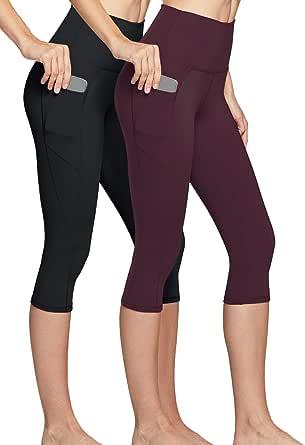 Capri Workout Leggings 4-Way Stretch Yoga Capri Leggings w Hidden//Side Pocket TSLA Women Capri Yoga Pants with Pockets