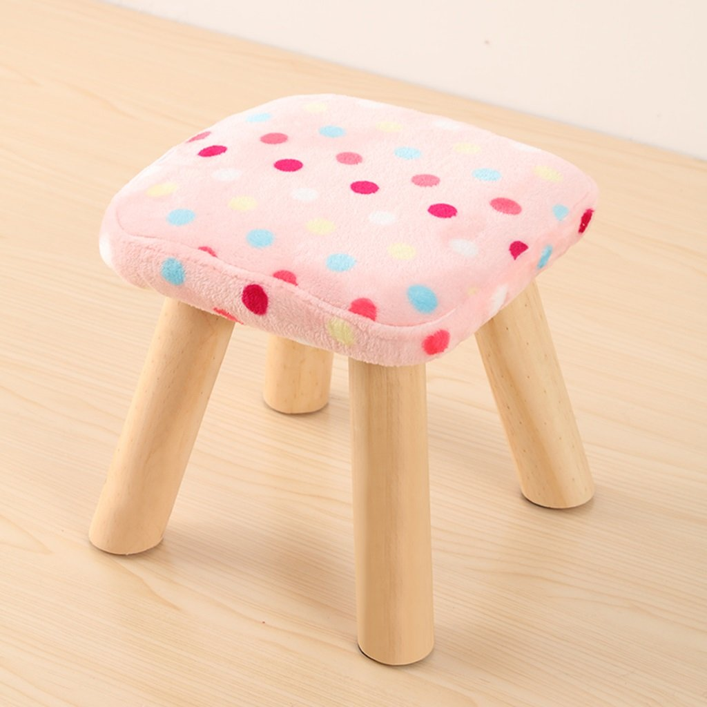 Duzhengzhou Pouf Footstool Square Footrest Seat Stool 4 Leg Stands Indoor Furniture(Pink, white, blue, red and white) (Color : 1)