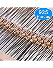 AUSTOR 925 Pieces 37 Values 5% Carbon Film Resistors Assortment Kit, 0 Ohm-1M Ohm 1/4W Resistor for DIY Projects and Experiments