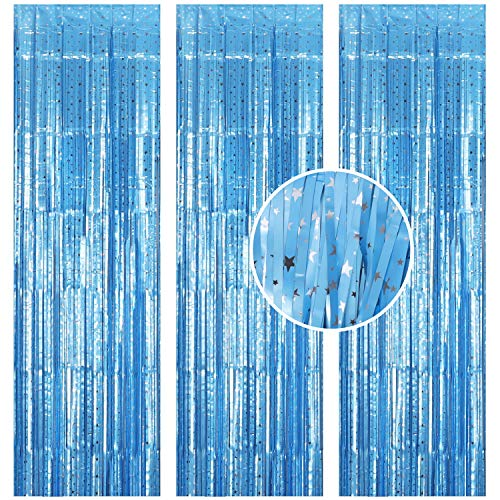 Jeicy 3 Pack Foil Curtains Metallic Fringe Curtains Tinsel Star Backdrop Curtain for Birthday Wedding Party Christmas Halloween New Year Decorations (Matt Light Blue)