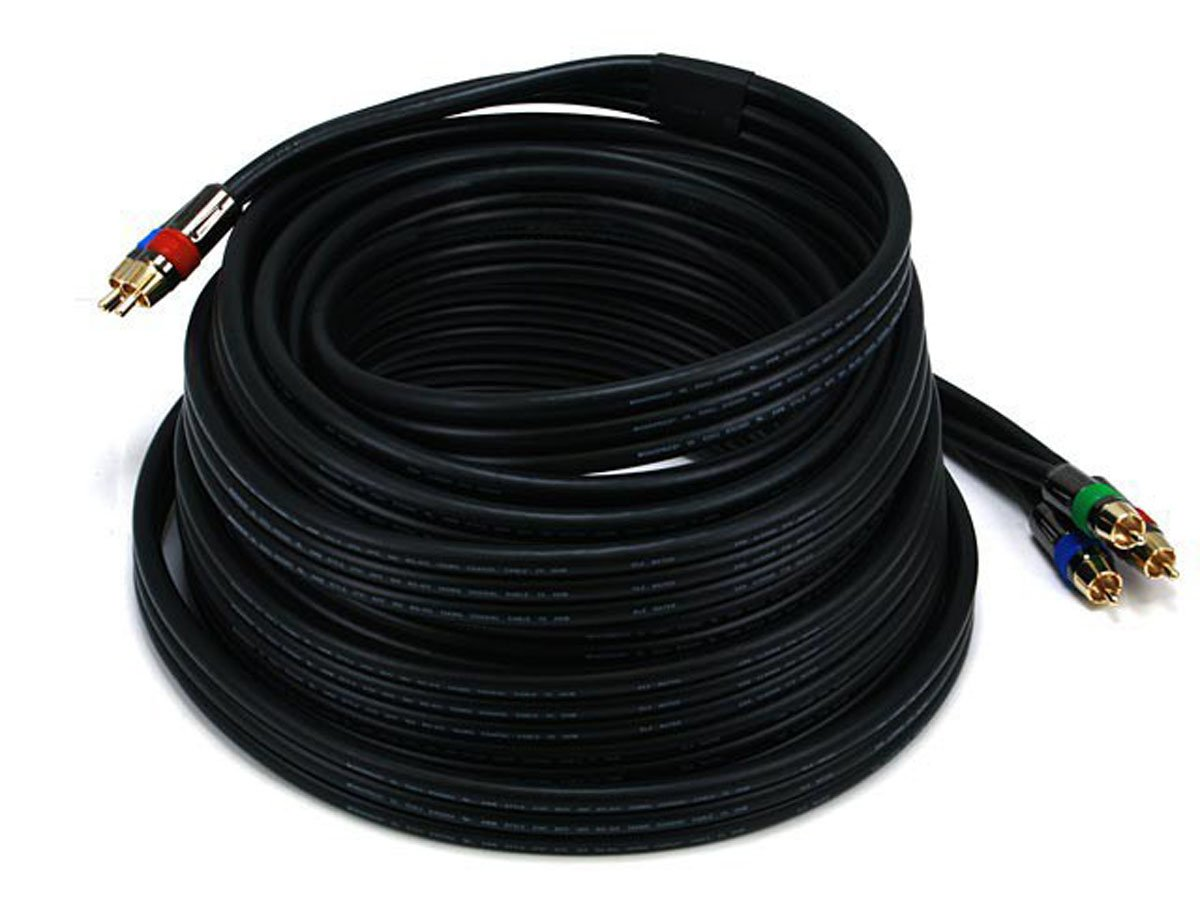 Monoprice 102855 35-Feet 18AWG CL2 Premium 3-RCA Component RG-6 Video Coaxial Cable - Black by Monoprice (Image #1)