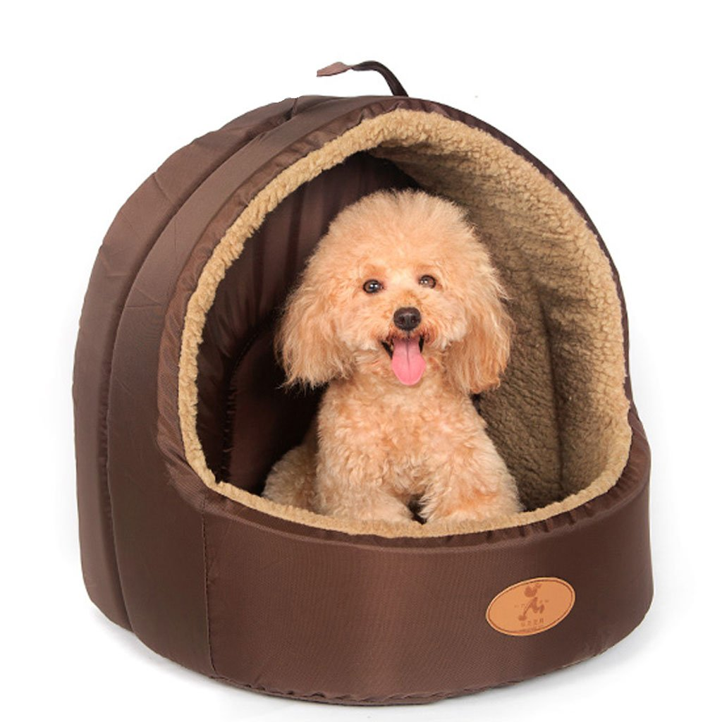 BROWN M BROWN M DQMSB Four Seasons Yurt Kennel Washable Cat Litter Dog House Pet Teddy Bear Dog Pet Supplies Small Summer pet Bed (color   Brown, Size   M)