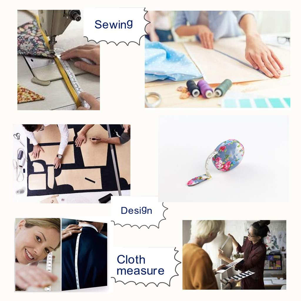 Jesy Fabric wrap Retractable Soft Measure Tape for Body Cloth,Weight Loss Measurement,Seamstress,Sewing Tailor,60 inches//150 Centimeters Light Blue Floral, Dia 2.2