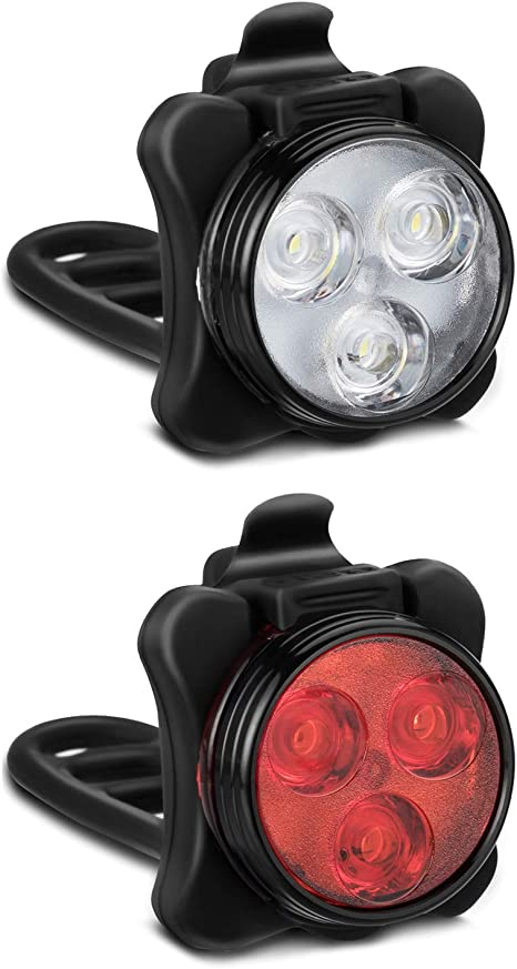2 Pcs USB Rechargeable LED Bike Lights Set Headlight Taillight Bicycle Lights