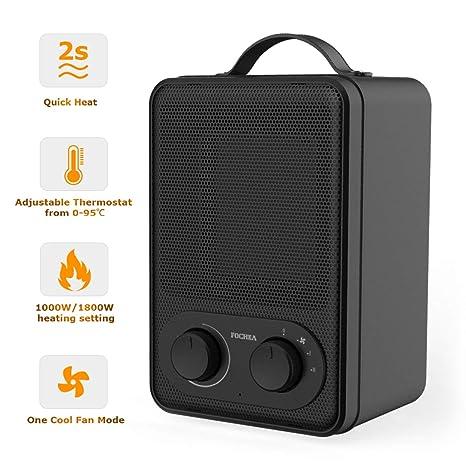 FOCHEA 1000/1800W Mini Calefactor Eléctrico Silencioso con Termostato Ajustable, Calentador Ventilador Cerámico de
