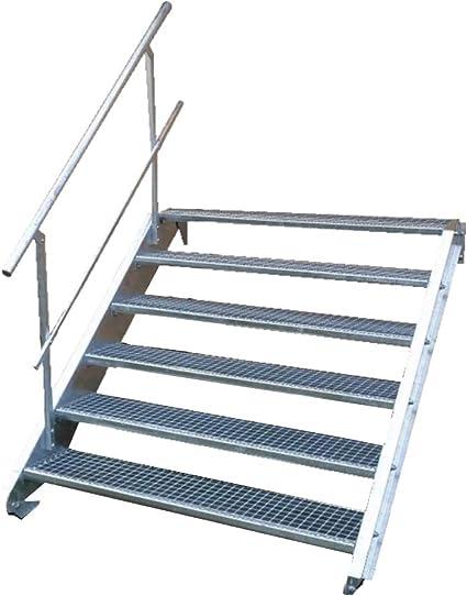 Escalera de acero industrial, escalera exterior, 6 peldaños, ancho 140 cm, altura de planta variable 90 – 120 cm, con barandilla unilateral: Amazon.es: Bricolaje y herramientas