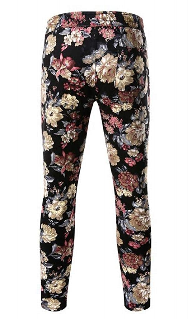YYG Mens Casual Straight Leg Regular Fit Floral Print Elastic Waisted Pants Trousers