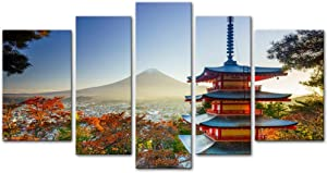 Wall Art Decor Poster Painting On Canvas Print Pictures 5 Pieces Mt. Fuji with Chureito Pagoda in Autumn Fujiyoshida Japan Landscape Mountain Framed Picture for Home Decoration Living Room Artwork