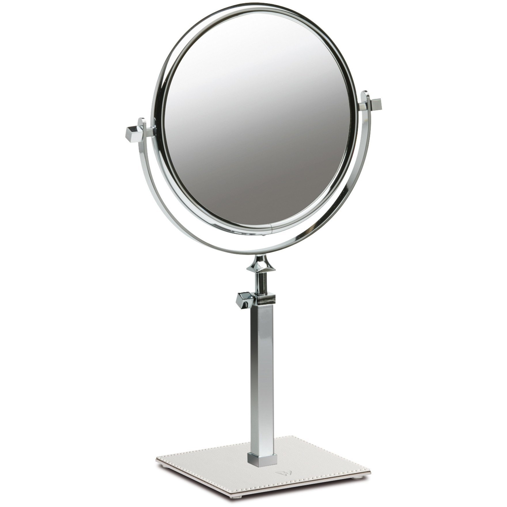 Box Kenia Table Dual Sided Cosmetic Makeup Magnifying Mirror Extendable, Leather (White, 5X Magnification)