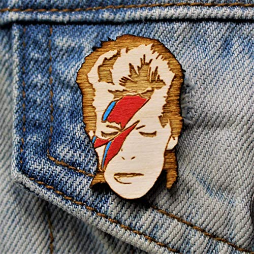 Star Man Lightning Bolt Pin | Hand-Painted Wood Rockstar Brooch