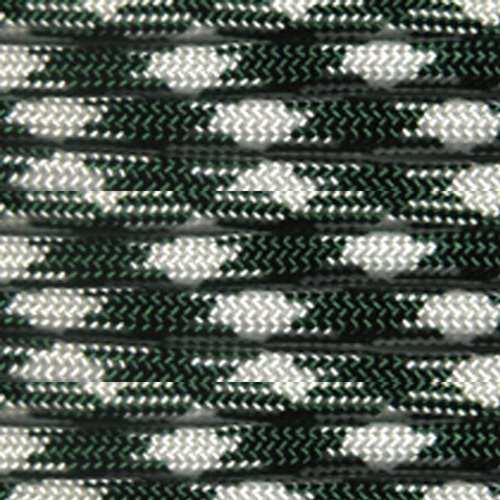 Paracord Planet Nylon 550lb Type III 7 Strand Paracord Made in the U.S.A. -Hunter Green & White-