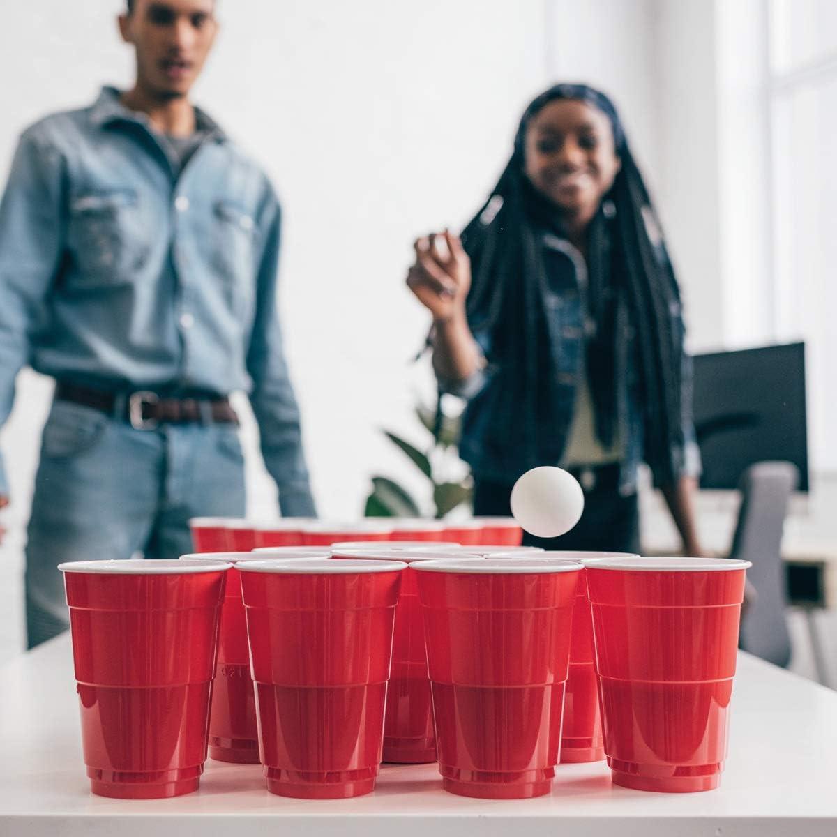 Trinkbecher 473ml 16oz 6 B/älle in Wei/ß 100 St/ück rote Plastikbecher inkl Navaris Beer Pong Becher Set mit B/ällen Trinkspiel Partybecher