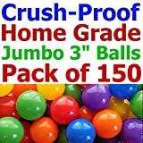 150 pcs Large 3.1'' Crush-Proof non-PVC Phthalate Free Plastic Ball Pit Balls - Air-Filled in 5 Colors - Guaranteed Crush-Proof