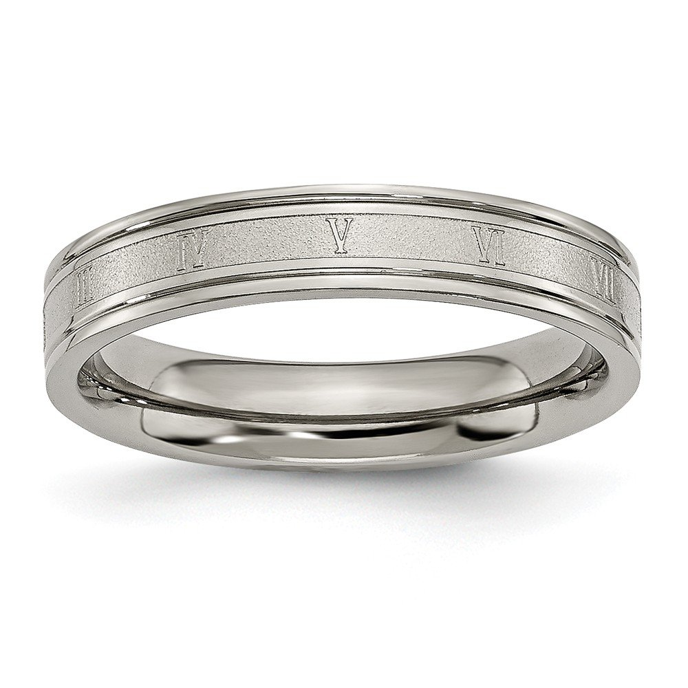 Wedding Bands Other Themed Bands Titanium 4mm Brushed and Polished Roman Numerals Band Size 7.5