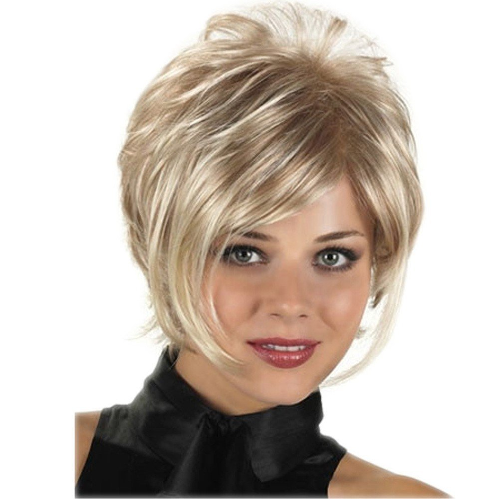 LEJIMEI Short Wigs for White Women - Blonde Synthetic Hair Wigs with Bangs Natural Party Fashion Full Wig + Wig Cap