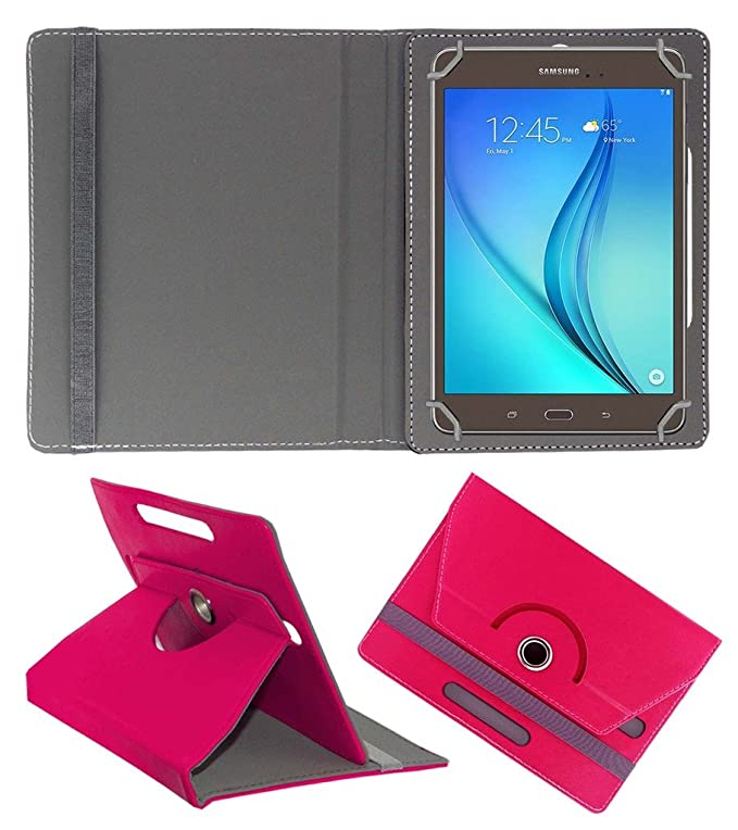 Acm Rotating 360 Leather Flip Case Compatible with Samsung Galaxy Tab A T355y Tablet Cover Stand Dark Pink Bags,Cases   Sleeves